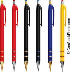 vector, anders, set, pennen, kleuren