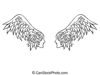 vector angel wings. Hand drawn vector illustration isolated on white, logo, t-shirt design. Template for Valentine's day cards.