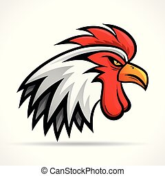 Vector angry rooster head design