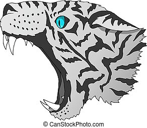 Vector angry snow leopard portrait. Tiger predator head colorful isolated