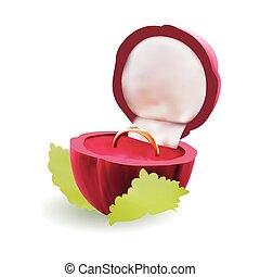 vector, anillo compromiso diamante, en caja, aislado, blanco, plano de fondo