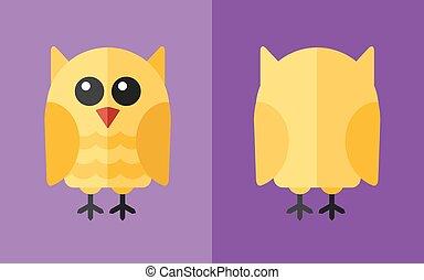 Vector animal - Vector flat animal. Owl icon. Flat zoo....