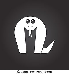 Vector animal - Vector flat white cobra icon on dark...