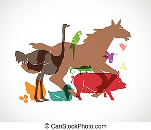 Vector animal group on white background, horse, pig, chicken...