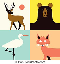 Vector animal icon set