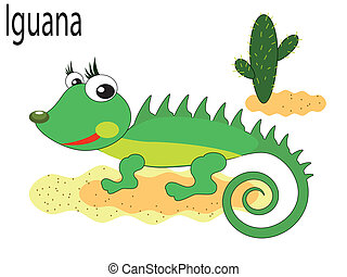 vector, animal, iguana