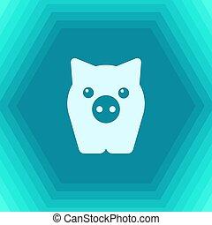 Vector animal - Vector flat pig icon on hexagonal background