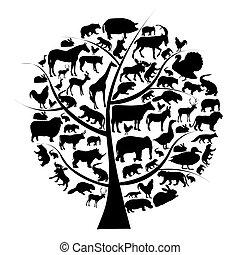 vector, animales, silueta, árbol., conjunto