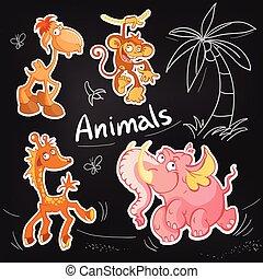 Vector animals cartoon characters. Cool Sticker designs