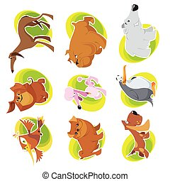 Vector animals characters in cool cartoon style.