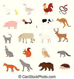 Vector animals collection - Cute animals collection: farm...