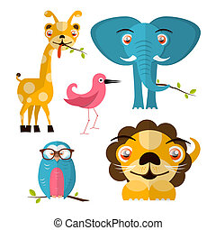 Vector Animals Illustration - Giraffe Owl Bird Lion and Elephant