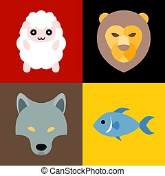 Vector animals in bible icons set, flat design