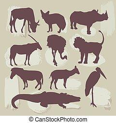 vector, animals., set, afrikaan, silhouette.