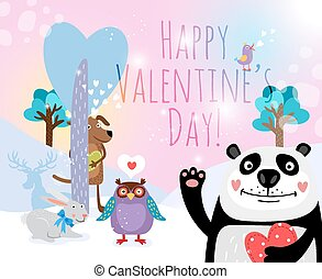 Vector animals with hearts on Valentines Day for cards and valentines