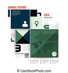 Vector annual report brochure, flyer, magazine cover design template.