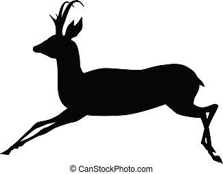 Vector antelope - Running antelope silhouette. Vector eps8...