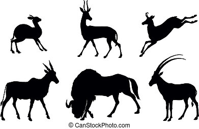 Vector antelope silhouettes