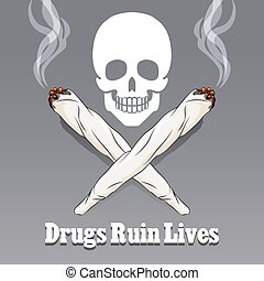 Vector anti drug poster. Danger narcotic and marijuana,...