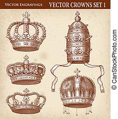 vector, antigüedad, corona, ilustraciones