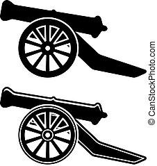 vector, antiguo, cañón, símbolo