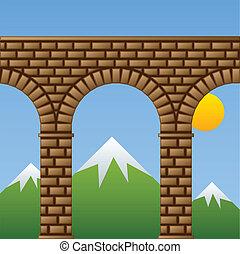 vector, antiguo, puente de piedra, viaducto, acueducto