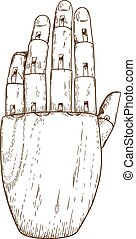engraving illustration of wooden hand