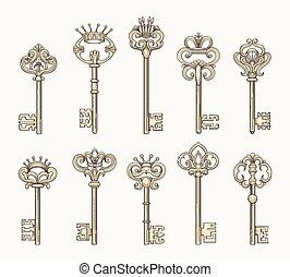 Vector antique keys icon set