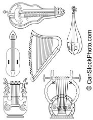vector antique strings instruments