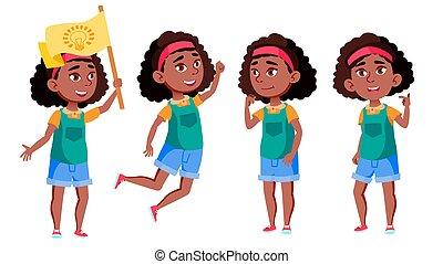 vector., anuncio, anuncio, ropa, afro, niña, norteamericano, friend., saludo, black., design., aislado, education., conjunto, caricatura, ilustración, casual