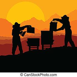 vector, apicultor, abejera, plano de fondo, trabajando