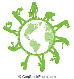 vector, apicultura, planeta, concepto, ecología, plano de...