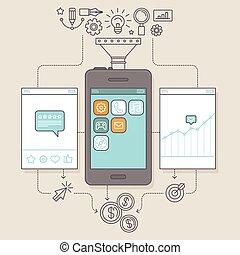 Vector app promotion and marketing illustration - Vector app...