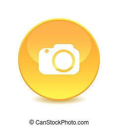 vector., appareil photo, fond, blanc, icône