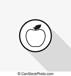 Vector apple icon with a long shadow on the background