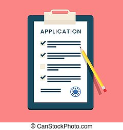 Vector Application Form. Documents with Stamp and Pencil.