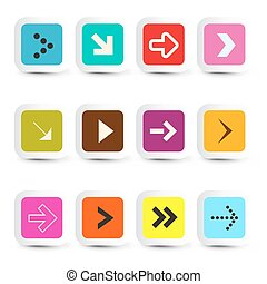 Vector Application Icons - Arrows in Paper Cut Squares Set