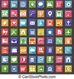 Vector Application Web Icons Set in Flat Design with Long Shadows.