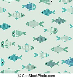 Vector aqua abstract fish cartoon seamless pattern background. Perfect for wallpaper, fabric, packaging and scrapbooking projects.