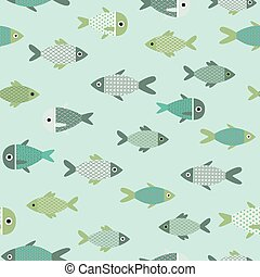 Vector aqua abstract fish seamless pattern background. Perfect for wallpaper, fabric, packaging and scrapbooking projects.