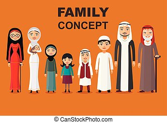 Muslim people father, mother, grandmother, grandfather, son
