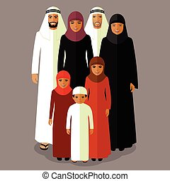 arab family, muslim people, - vector arab family, muslim...