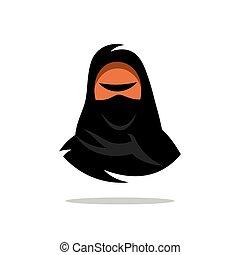 Vector Arabian Woman in Hijab. Yashmak. Cartoon Illustration.