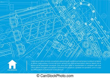 Vector architect background - Vector technical blueprint of...