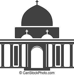 Vector architecture building symbol, historical building, black icon of church, chapel