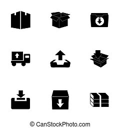 Vector archive icon set on white background