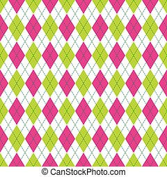 Vector Argyle Seamless Pattern in Pink and Green Color. Seamless Argyle Pattern. Checkered Seamless Pattern.