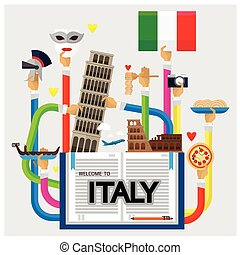 vector arm and hand welcome to Italy love heart shape with Travel icons