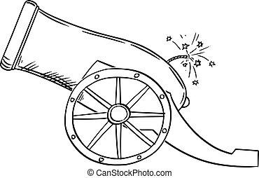 vector, arma de fuego, ilustración, viejo, artillería, vista., caricatura, cañón, o, lado