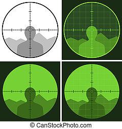 vector, arma de fuego, vista, retículo